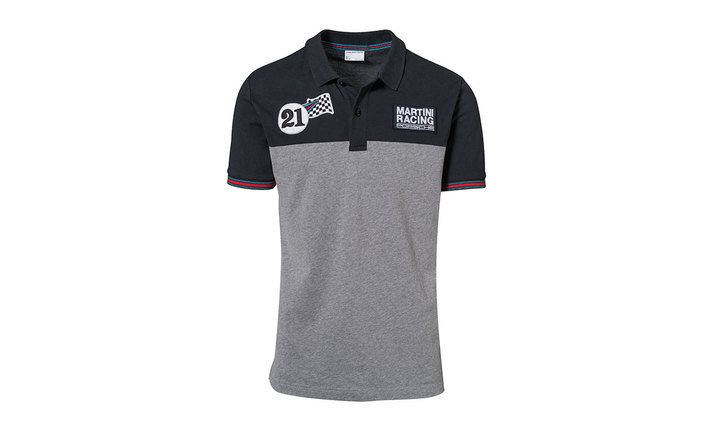 Martini Racing Men's Polo Shirt in Navy Blue and Grey