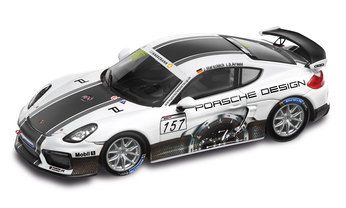 Cayman GT4 Clubsport Porsche Design, blanco/multicolor, 1:43, Limited Edition