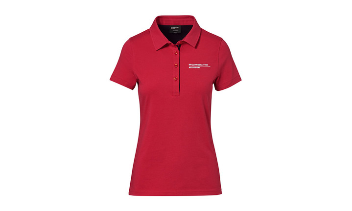 Women's red polo Motorsports Collection, Fanwear
