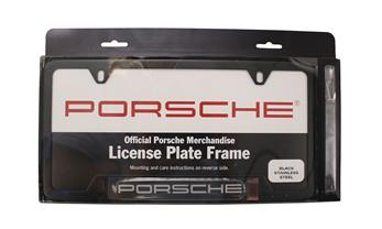 Porsche Black Stainless Steel License Plate Frame with Carbon look nameplate