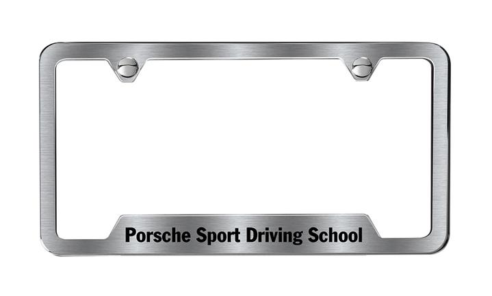 Porsche Sport Driving School Brushed Stainless Steel License Plate Frame