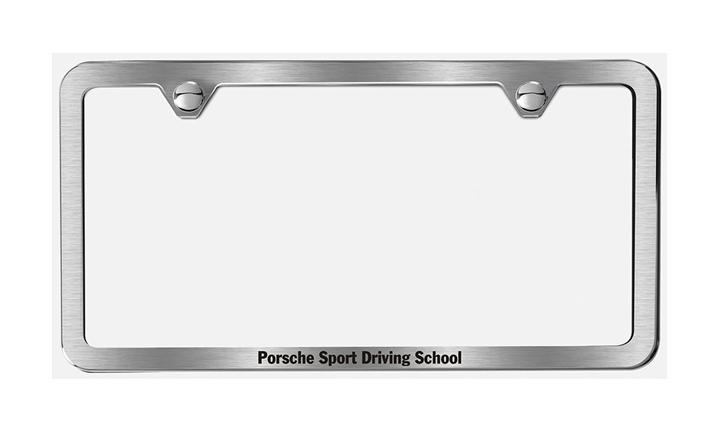 Porsche Sport Driving School Brushed Stainless Steel Slimline License Plate Frame